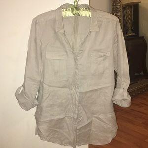 Tops - Gerard Darel Women's Linen Button Down Shirt
